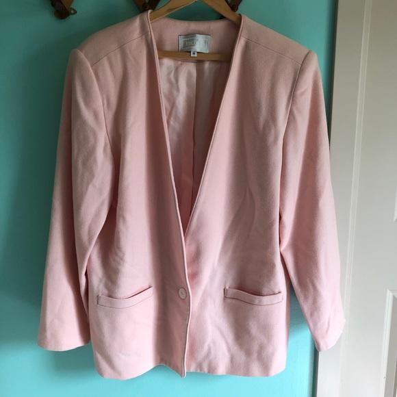 Vintage Jackets & Blazers - VTG 80s Pink Wool Blazer